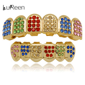 LuReen Colorful Teeth Grillz Top&Bottom Iced Out CZ Grills Dental Hip Hop Vampire Teeth Caps Grill Mouth Body Jewelry Party - efair Best spare parts online shopping website