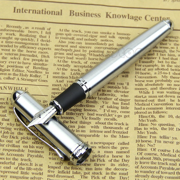 Luxury Brand Jinhao X750 Silver Stainless Steel Fountain Pen Medium 18KGP Nib School Office Name Ink Pens Gift Stationery - efair.co
