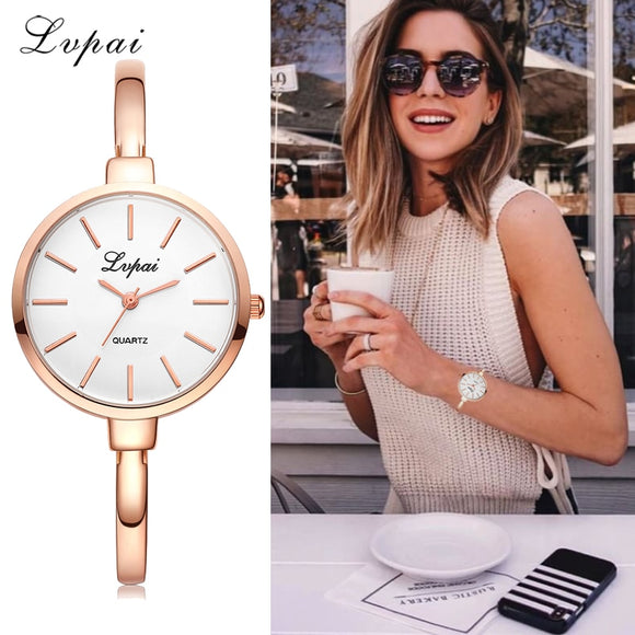 Lvpai Rose Gold Women Bracelet Watches Fashion Luxury Quartz-Watches Brand Ladies Casual Dress Sport Watch Clock Dropshiping - efair.co