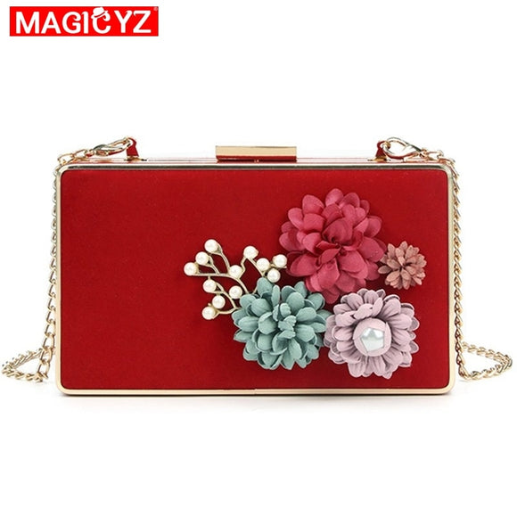 MAGICYZ High Quality Handmade Flower Eveing Clutch Bags Fashion Party Clutch Purse Wallet Wedding Dinner Bags Red Shoulder Bags - efair Best spare parts online shopping website