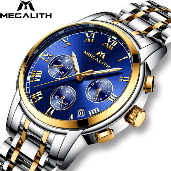 MEGALITH Luxury Luminous Watches Men Waterproof Stainless Steel Analogue Wrist Watch Chronograph Date Quartz Watch Montre Homme - efair Best spare parts online shopping website