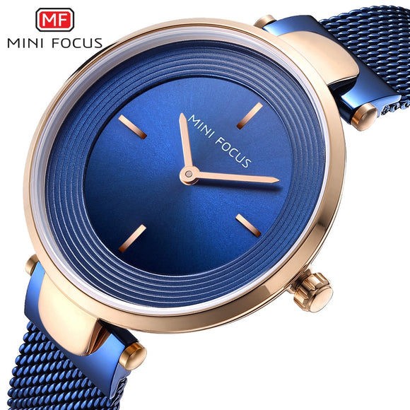 MINIFOCUS Thin Ladies Wrist Watch Women Fashion Stainless Steel Watch Strap Quartz Girls Watches Womans Clock Relogio Feminino