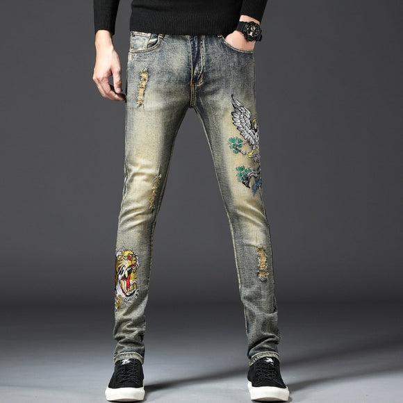 Men Jeans 2019 Spring Summer Skinny Slim Hip Hop Elastic High Waist Male Embroidery Straight Pants Plus Size - efair Best spare parts online shopping website