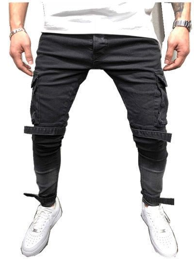 Men Ripped Biker Jeans Pants Skinny Slim Frayed Denim Trousers Men New Fashion Skinny Casual Black Pocket Beam  Pant Plus Size - efair.co