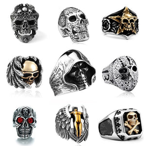 Men Stainless Steel Ring Vintage Hip Hop Skull Rings For Men Steampunk Jewelry Accessories 2019 Gothic Punk Rings Drop Shipping - efair Best spare parts online shopping website