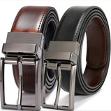 Men's Belts Genuine Leather Dress Reversible Belt with Rotated Buckle Two Belt in One size 26-54 Inch Waist Strap - efair.co