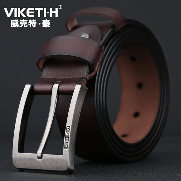 Men's Deluxe Genuine Leather Belt High-quality pin-button casual cowhide belt Retro Classic Jeans Belt - efair.co