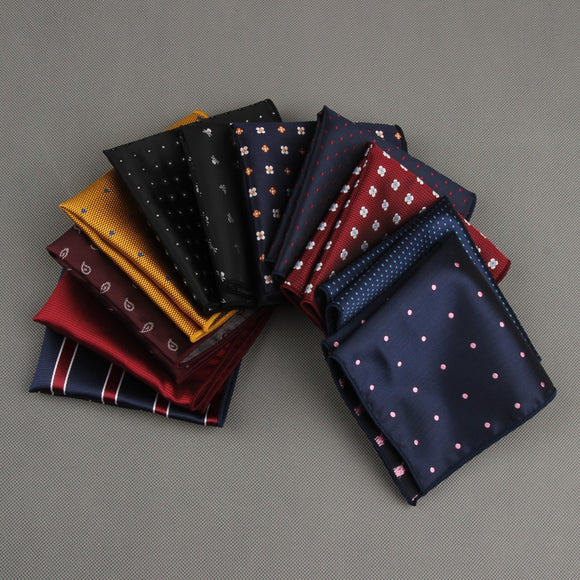 Men's Handkerchief Polka Dot Striped Hankies Wedding Party Polyester Printed Hanky Business Pocket Square Chest Towel 23*23CM - efair Best spare parts online shopping website