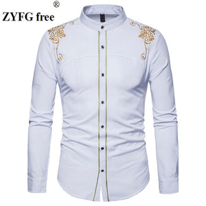 Men's Long Sleeved shirt New Arrivals Chinese style Fashion tops Male embroidery pattern Cotton Casual clothes shirts EU/US size - efair.co