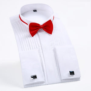 "Men's Tuxedo Shirts with French Cuffs and Bow Tie 1/4"" Pleats Long Sleeve White Wedding Cocktail Prom Party Evening Dress Shirt - efair.co"