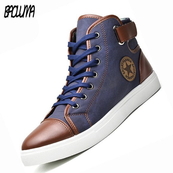 Mens Designer Trainers High Top Men Shoes Canvas Men Casual Shoes Autumn Winter Male Footwear Patchwork Plus Size 45 46 47 - efair Best spare parts online shopping website
