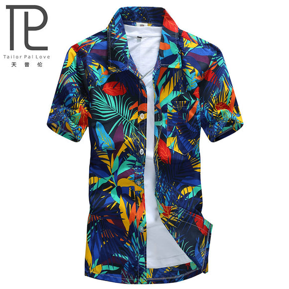 MartLion,Mens Hawaiian Shirt Male Casual camisa masculina  Printed Beach Shirts Short Sleeve brand clothing Free Shipping Asian Size 5XL