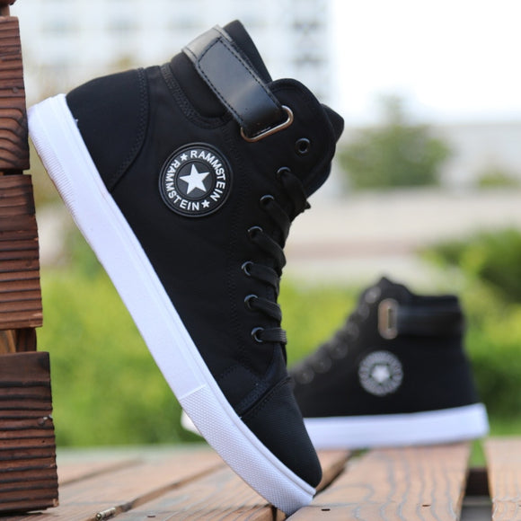 Mens High-top Canvas Shoes Men 2019 New Spring Autumn Top Fashion Sneakers Lace-up High Style Solid Colors Man Black Shoes KA853 - efair Best spare parts online shopping website