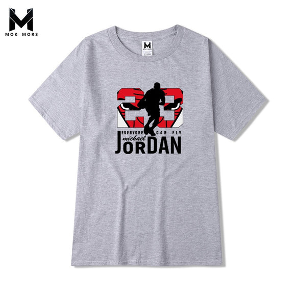 Mens JORDAN 23 Printing T Shirt Brand Pure cotton Men t shirt Stylish Summer Slender Tshirt Man Round Collar Large Code T-Shirt - efair Best spare parts online shopping website