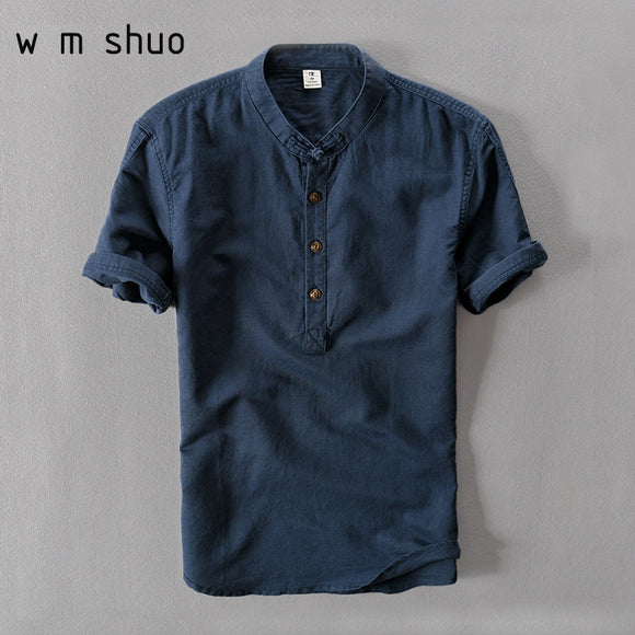 Mens Shirts Fashion 2019 Summer Short Sleeve Slim Cotton Linen Shirts Male White Color Casual Shirts Plus Size Tops Y001 - efair Best spare parts online shopping website