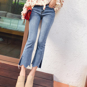 Mishow female Wide Leg Pants Spring 2019 women Washed Mid waist skinny trousers Autumn Denim Zipper slim casual Jeans MX18A2336 - efair Best spare parts online shopping website