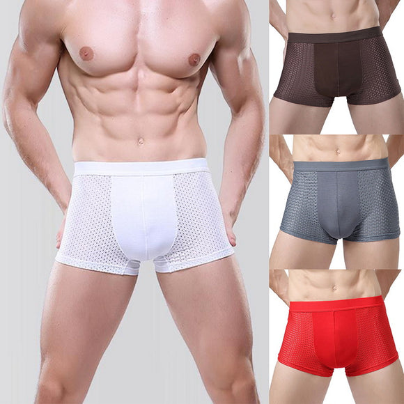 MoneRffi Breathable Quick Dry Flat boxer Underwear Men Mesh Hollow Plus Size Solid Boxer Male Elastic Waist Underpants bokserki - efair Best spare parts online shopping website