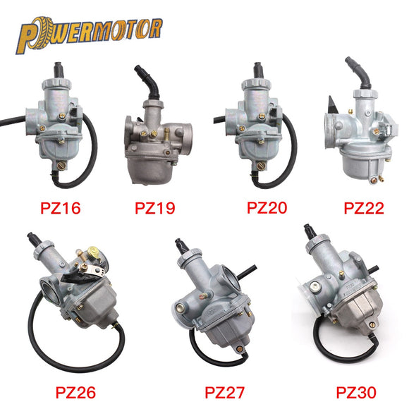 Motorcycle Carburetor PZ16 PZ19 PZ20 PZ22 PZ26 PZ27 PZ30 Hand Cable Chock Carb For 50cc-250cc Dirt Bike ATV Quad Go kart - efair.co