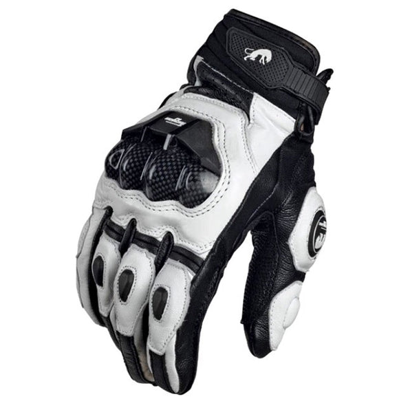 Motorcycle Gloves black Racing Genuine Leather Motorbike white Road Racing Team Glove men summer winter - efair.co