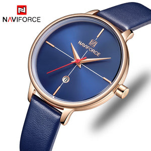 NAVIFORCE Women Watches Luxury Brand Lady Quartz Watch Women Fashion Casual Leather Strap Auto Date Dress Wristwatch reloj mujer - efair.co