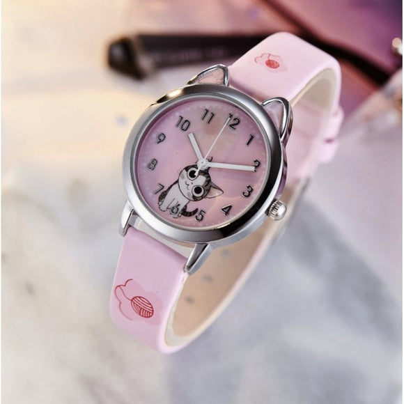 NEW arrive Cute Cheese Cat Pattern Kids Watch Quartz Analog Child Watches For Boys Girls Student Clock Gift Relogio Feminino - efair.co
