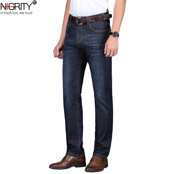 NIGRITY 2019 Spring Summer New Men's Straight casual jeans Fashion denim trousers male pant 2 Colors Optional big size 29-42 - efair Best spare parts online shopping website