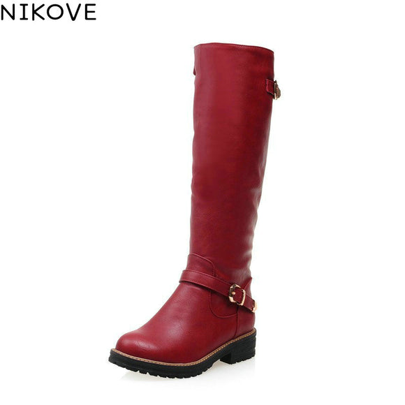 NIKOVE 2018 All-match Med-heel Black Grey Red Ladies Shoes Winter Shoes Round Toe Fashion Women Knee-high PU Leather Boots - efair.co