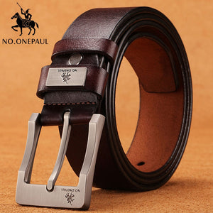 NO.ONEPAUL cow genuine leather luxury strap male belts for men new fashion classice vintage pin buckle men belt High Quality - efair Best spare parts online shopping website