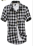 Navy and Green Plaid shirts Men  2019 New Arrival Summer Men's Casual Short sleeve Shirts Fashion Chemise Homme Men Dress Shirts - efair.co