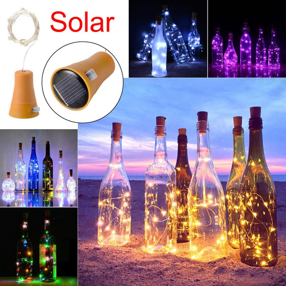 New 1PCS Solar 2M LED Cork Shaped 20 LED Night Fairy String Light Kork Solarbetrieben Licht Wine Bottle Lamp Party Celebration - efair Best spare parts online shopping website