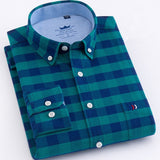 MartLion,New Arrived 100% Cotton Long Sleeve Shirt Men Plaid Shirts / Striped shirt plus size 5XL Oxford Mens Dress Shirts Camisa Social