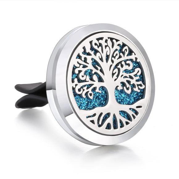New Car Air Diffuser Locket Tree of Lfie Stainless Steel Vent Freshener Car Essential Oil Diffuser Perfume Aromatherapy Necklace - efair.co