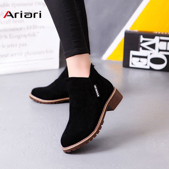 New Classic Women Ankle Boots Winter Female Snow Women Casual shoes Thick Heel Suede Warm Fur Plush Women Shoes Women Booties - efair.co