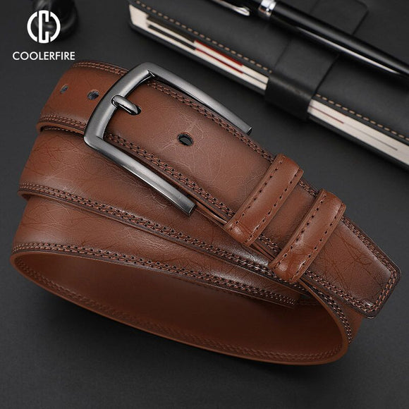 New Fashion Men's Genuine Leather Belts Designer Belt for Man Pin Buckle with Leather Strap Business Dress Male Belts HQ091 - efair.co