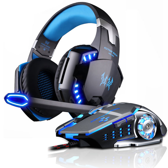 New Gaming Headphone Stereo Over-Ear Game Headset Headband Earphone with Mic LED Light for PC Gamer+6 Button Pro Gaming Mouse - efair Best spare parts online shopping website