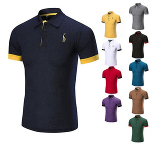New Hot Mens Polo Shirt Brands Male Short Sleeve Fashion Casual Slim Deer Embroidery Breathable Polos Men Lapel Business Jerseys - efair.co