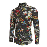 MartLion,New Men's Long Sleeve Casual Shirt Fashion Rose Flower 3D Printed Floral Shirt Turn-down Collar Slim Fit Shirt For Mens Clothing
