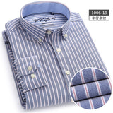 New Spring Autumn Oxford Mens shirts long sleeve Cotton casual shirt solid plaid camisa 5XL 6XL Big size camisa social masculina - efair.co