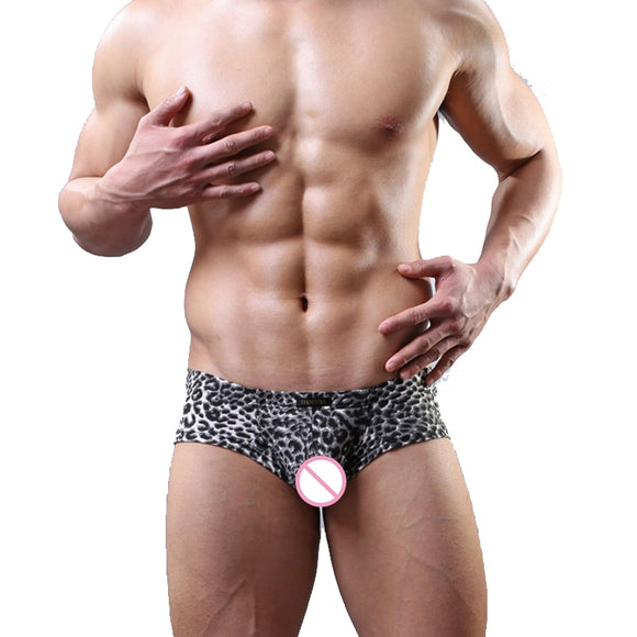 New Style Men Cool Black Pouch Low Waist Mini Boxer Mens Sexy Leopard Printed Comfortable Breathable Underwear Underpants Cueca - efair.co