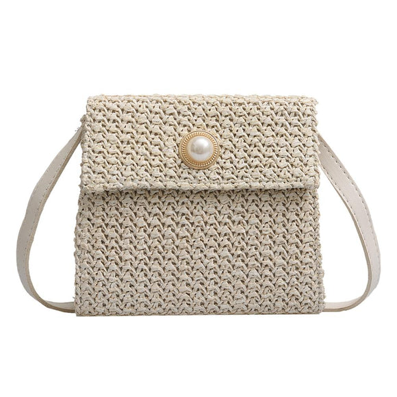 New Summer Women Shoulder Bag Girls Solid Color Small Hand Made Exquisiteness Straw Bags Woven Flap Sweet Pastoral Rattan Bag - efair Best spare parts online shopping website