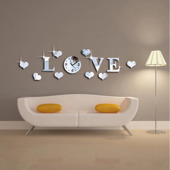 New arrival Mirror Wall Clock LOVE 3d Wall Stickers Home Decor Europe Acrylic Clocks DIY Home Room Art Mural Removable Poster - efair.co