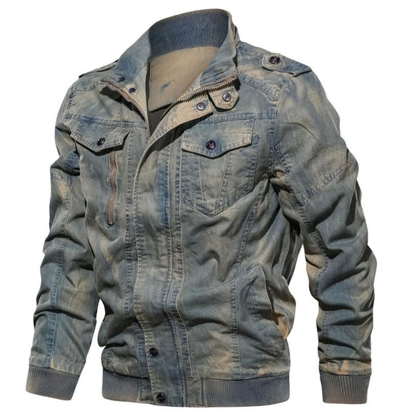 New spring and autumn men's jacket retro casual cotton jacket large size coat denim - efair Best spare parts online shopping website