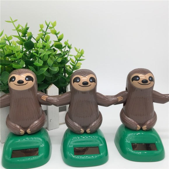 Novelty Solar Toys Plastic ABS Sloth Solar Powered Dancing For Desk Home Ornaments Decoration Toys For Children Kids Gift - efair.co