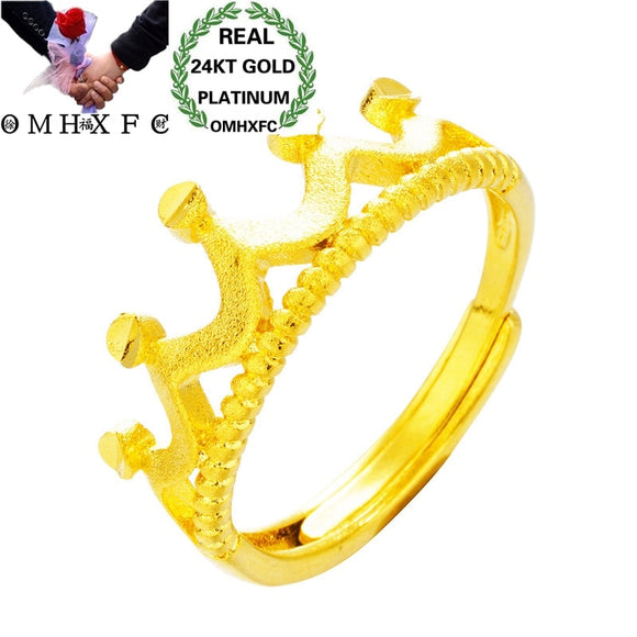 OMHXFC Wholesale European Fashion Hot Jewelry Woman Female Party Birthday Wedding Mother Gift Crown Open 24KT Gold Ring RI173 - efair.co