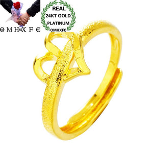 OMHXFC Wholesale European Fashion Hot Jewelry Woman Female Party Birthday Wedding Mother Gift Heart Open 24KT Gold Ring RI176 - efair.co