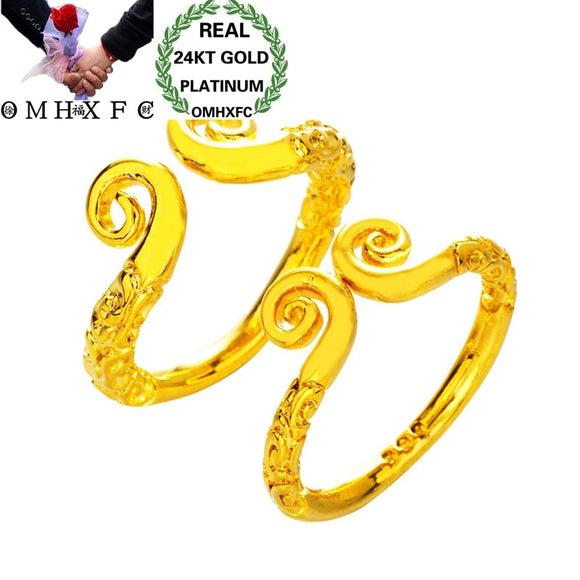 OMHXFC Wholesale European Fashion Jewelry Lovers Couple Party Birthday Wedding Gift Love Cursing Hoop Open 24KT Gold Ring RI183 - efair.co