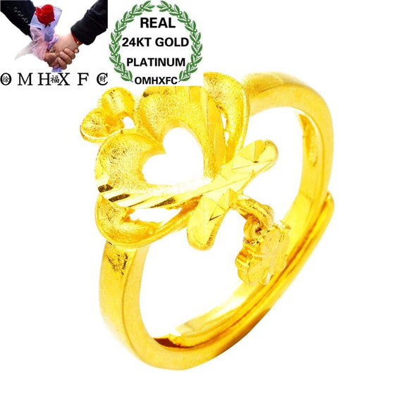 OMHXFC Wholesale European Fashion Jewelry Woman Female Party Birthday Wedding Mother Gift Crown Heart Open 24KT Gold Ring RI172 - efair Best spare parts online shopping website