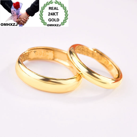 OMHXZJ Wholesale European Fashion Jewelry Lovers Couple Party Birthday Wedding Gift Simple Blank Resizable 24KT Gold Ring RR1042 - efair Best spare parts online shopping website