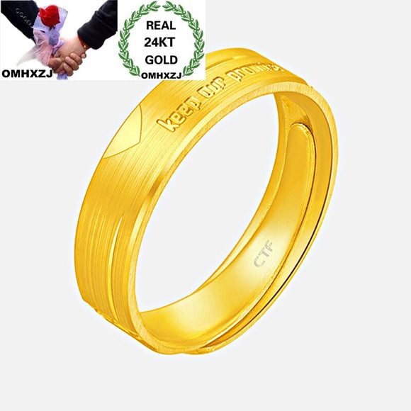OMHXZJ Wholesale European Fashion Woman Man Unisex Party Birthday Wedding Gift Keep Our Promise Resizable 24KT Gold Ring RR1046 - efair.co