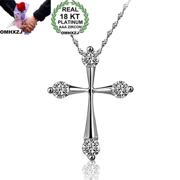 OMHXZJ Wholesale Personality Fashion OL Woman Girl Party Gift White Cross AAA Zircon 18KT White Gold Pendant Necklace NC120 - efair Best spare parts online shopping website